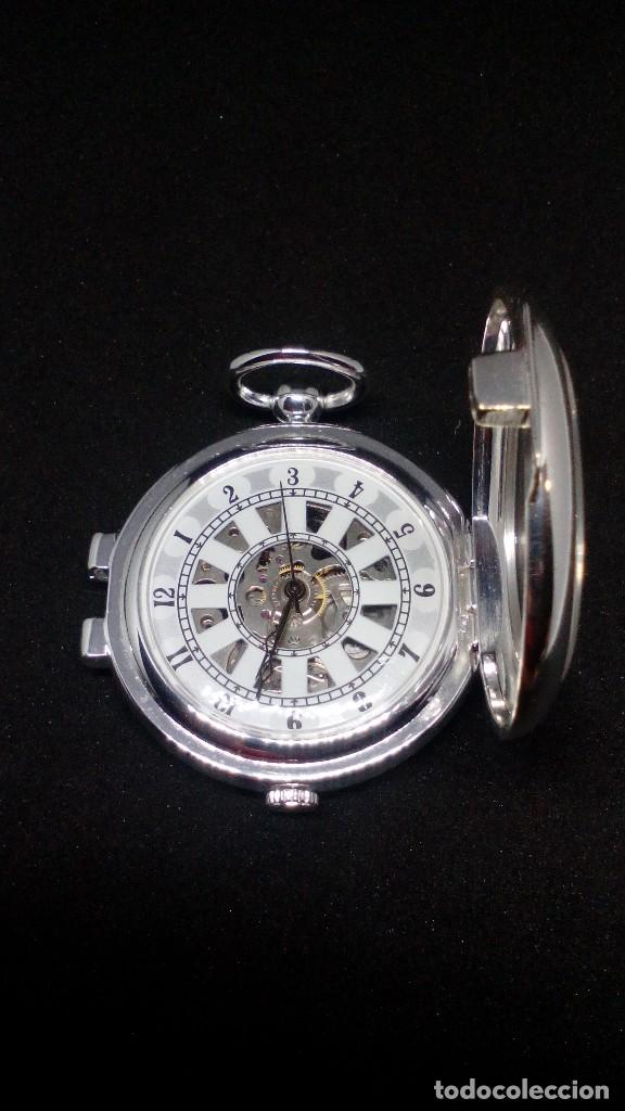 Relojes de bolsillo: RELOJ BOLSILLO CUERDA BAÑO DE PLATA FUNCIONA PERFECTAMENTE - Foto 4 - 97064151