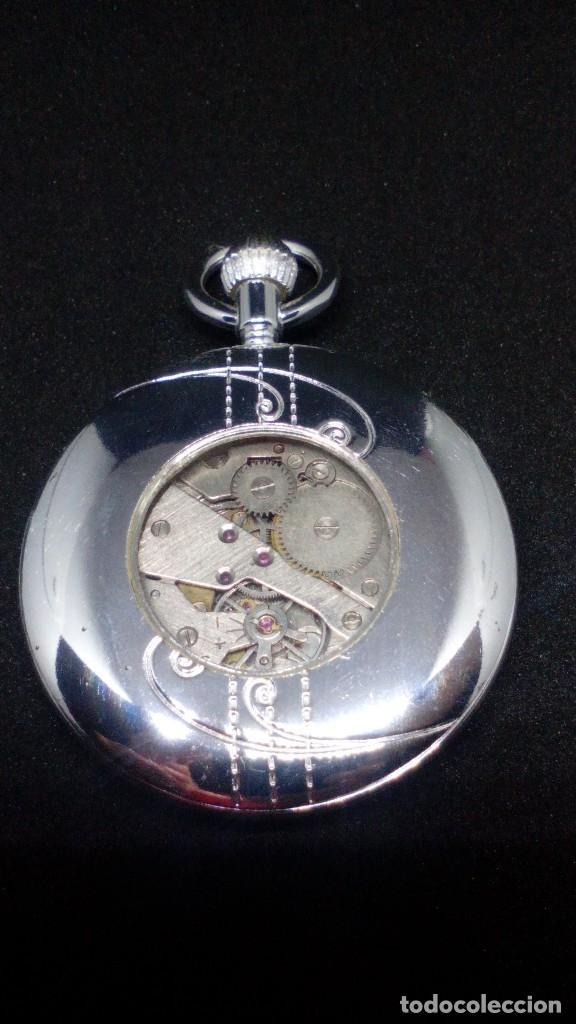 Relojes de bolsillo: RELOJ BOLSILLO CUERDA BAÑO DE PLATA FUNCIONA PERFECTAMENTE - Foto 3 - 97064683