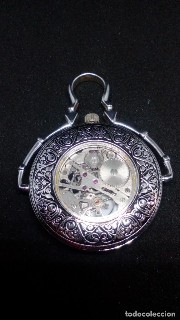 Relojes de bolsillo: RELOJ BOLSILLO CUERDA BAÑO DE PLATA FUNCIONA PERFECTAMENTE - Foto 2 - 97064783