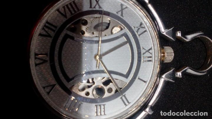 Relojes de bolsillo: RELOJ BOLSILLO CUERDA BAÑO DE PLATA FUNCIONA PERFECTAMENTE - Foto 4 - 97064783