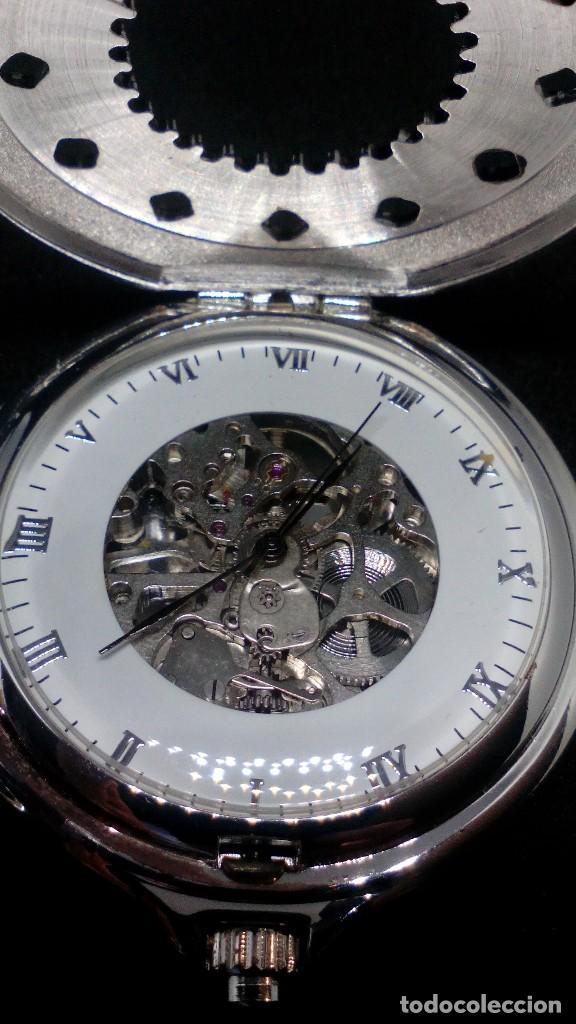 RELOJ BOLSILLO CUERDA BAÑO DE PLATA FUNCIONA PERFECTAMENTE (Relojes - Bolsillo Carga Manual)