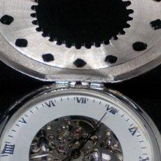 Relojes de bolsillo: RELOJ BOLSILLO CUERDA BAÑO DE PLATA FUNCIONA PERFECTAMENTE. Lote 97111863