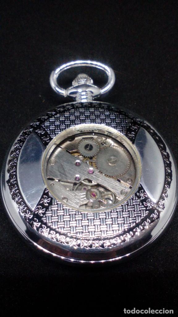 Relojes de bolsillo: RELOJ BOLSILLO CUERDA BAÑO DE PLATA FUNCIONA PERFECTAMENTE - Foto 2 - 97112059