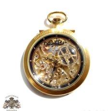 Relojes de bolsillo: MAURICE LACROIX BOLSILLO ESQUELETO MODELO 1378 - MECANICO MANUAL MATERIAL ACERO Y PLAQUE ORO RUBIES. Lote 97642991