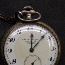 Relojes de bolsillo: ANTIGUO RELOJ DE BOLSILLO PERSONALIZADO MANUEL AMARE DE TORTOSA DE PLATA ORIGINAL. Lote 98503399