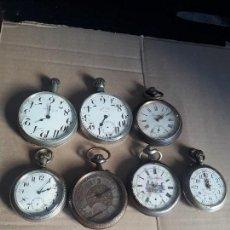 Relojes de bolsillo: LOTE DE 7 RELOJES DE BOLSILLO GRAN TAMAÑO GOLIAT PARA REPARAR O PIEZAS MÍRALO . Lote 98796095