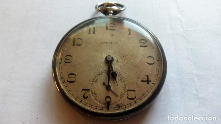 RELOJ DE BOLSILLO PARADOX, PLATA, FUNCIONANDO, MEDIDA 45 MM (Relojes - Bolsillo Carga Manual)