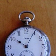 Relojes de bolsillo: RELOJ DE BOLSILLO DE PLATA CYMA. Lote 100569607