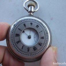 Relojes de bolsillo: RELOJ HUGUENIN EN PLATA DE 3 TAPAS Y VENTANA,BUEN ESTADO,BARATO VER DESCRIPCION. Lote 101217887