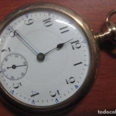 Relojes de bolsillo: MAGNIFICO RELOJ DE BOLSILLO SUIZO MARCA FORTUNE CHAPADO EN ORO, MAQUINARIA DE 15 JOYAS, FUNCIONANDO. Lote 101374983
