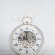 Relojes de bolsillo: RELOJ BOLSILLO CUERDA BAÑO DE PLATA FUNCIONA PERFECTAMENTE. Lote 101599287