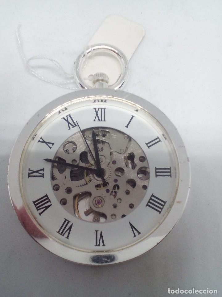 Relojes de bolsillo: RELOJ BOLSILLO CUERDA BAÑO DE PLATA FUNCIONA PERFECTAMENTE - Foto 2 - 101599287