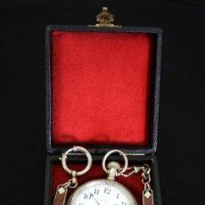 Relojes de bolsillo: ELEGANTE RELOJ DE BOLSILLO, DE CUERDA MANUAL DE ORIGEN AMERICANO, ELGIN, CON SU CADENA Y ESTUCHE. Lote 101676871