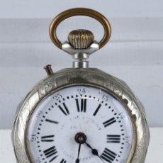 Relojes de bolsillo - Reloj de bolsillo Roskopf en niquel mecanismo de rueda en funcionamiento - 102075499