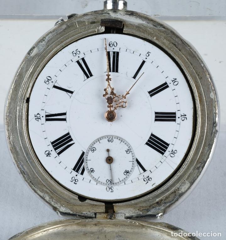 Relojes de bolsillo: Reloj de bolsillo Roskopf en plata punzonada con mecanismo de rueda en funcionamiento - Foto 2 - 102075503