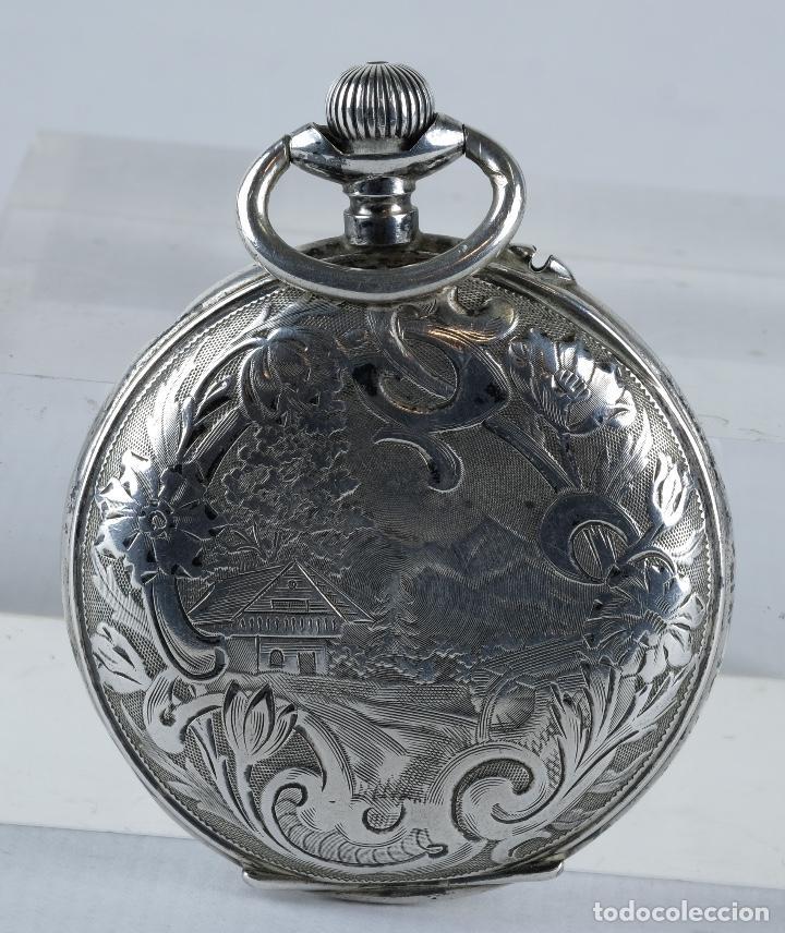 Relojes de bolsillo: Reloj de bolsillo Roskopf en plata punzonada con mecanismo de rueda en funcionamiento - Foto 3 - 102075503
