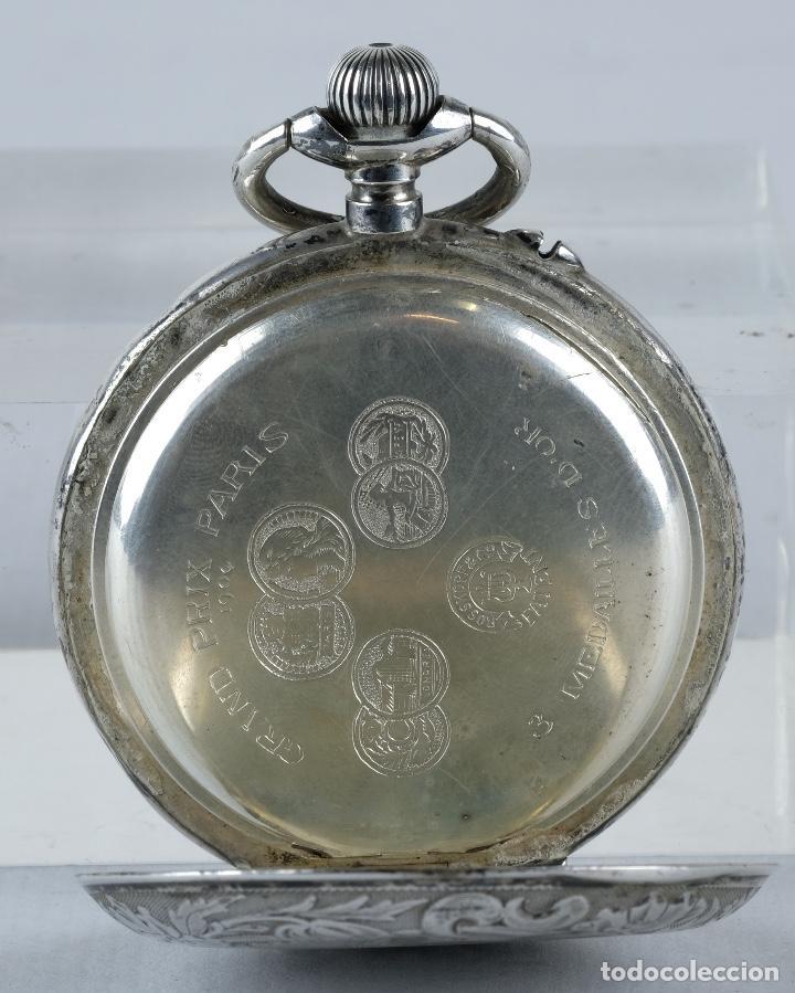 Relojes de bolsillo: Reloj de bolsillo Roskopf en plata punzonada con mecanismo de rueda en funcionamiento - Foto 4 - 102075503