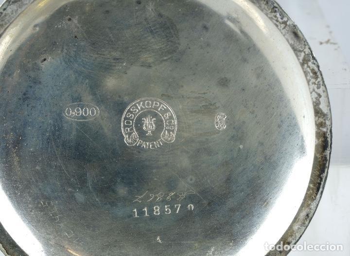 Relojes de bolsillo: Reloj de bolsillo Roskopf en plata punzonada con mecanismo de rueda en funcionamiento - Foto 6 - 102075503