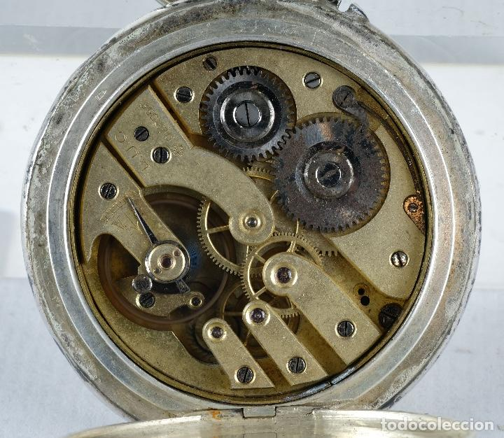 Relojes de bolsillo: Reloj de bolsillo Roskopf en plata punzonada con mecanismo de rueda en funcionamiento - Foto 7 - 102075503