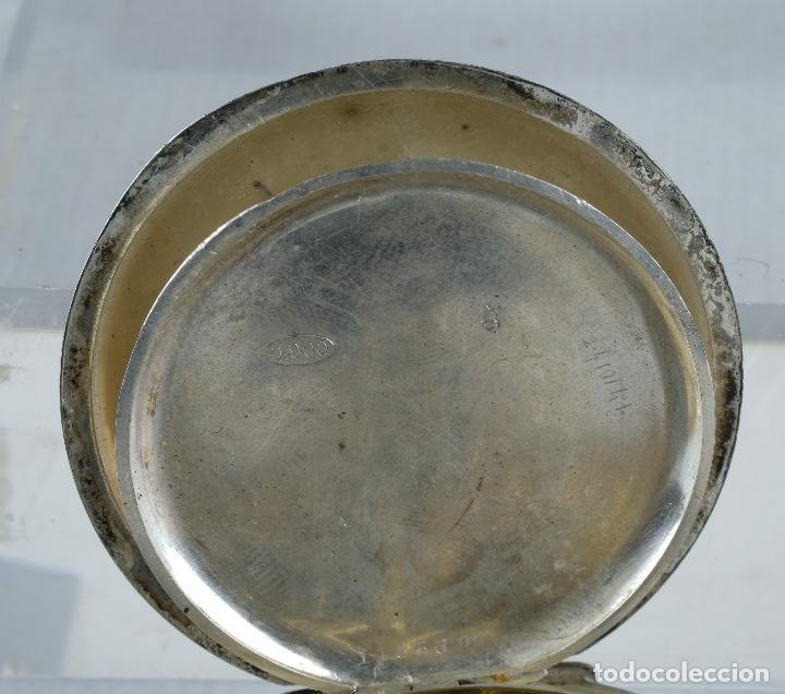 Relojes de bolsillo: Reloj de bolsillo Roskopf en plata punzonada con mecanismo de rueda en funcionamiento - Foto 8 - 102075503