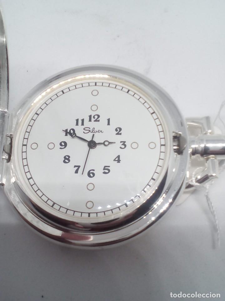 RELOJ DE BOLSILLO SILVER BAÑO DE PLATA FUNCIONANDO (Relojes - Bolsillo Carga Manual)