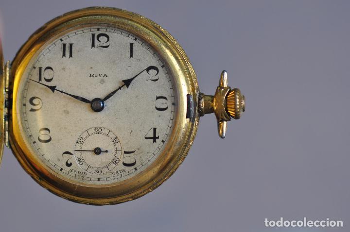 ANTIGUO RELOJ DE BOLSILLO , EN ESTADO AVERIADO . RIVA - BREGUET WATCH CASE CHAPADO ORO (Relojes - Bolsillo Carga Manual)