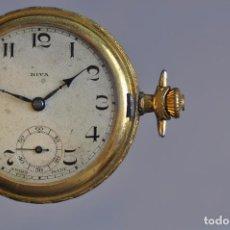 Relojes de bolsillo: ANTIGUO RELOJ DE BOLSILLO , EN ESTADO AVERIADO . RIVA - BREGUET WATCH CASE CHAPADO ORO. Lote 221651267