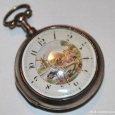 Relojes de bolsillo: RELOJ CATALINO E. MOWE. DOBLE CAJA. PLATA Y ESMALTE. REINO UNIDO. FIN. S. XVIII. Lote 102603567