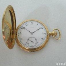 Relojes de bolsillo: ANTIGUO RELOJ DE BOLSILLO - MARCA JUVENIA - ORO 18 KT - FUNCIONA - PESO 65 GR. Lote 102698843