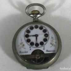 Relojes de bolsillo: RELOJ BOLSILLO 8 HORAS - HEBDOMAS - ESFERA CERÁMICA PINTADA A MANO - NO FUNCIONA. Lote 102768359