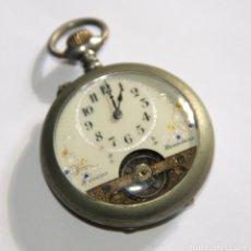 Relojes de bolsillo: RELOJ HEBDOMAS 8 DÍAS. METAL Y ESMALTE. FUNCIONA. SUIZA. FINALES S. XIX. Lote 151111073