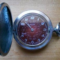 Relojes de bolsillo: ANTIGUO RELOJ DE BOLSILLO RUSO MOLNIJA AÑOS 60 CON 18 RUBIES ESFERA EN COLOR CON DIBUJO EN RELIEVE. Lote 103037864
