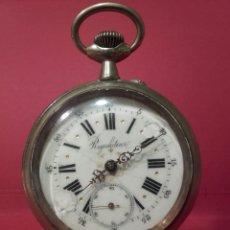 Relojes de bolsillo: RELOJ DE BOLSILLO REGULATEUR NIQUELADO DE GRAN TAMAÑO. Lote 103115218