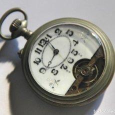 Relojes de bolsillo: RELOJ TIPO HEBDOMAS. METAL Y PORCELANA. NO FUNCIONA. PRINC. S. XX. Lote 103394867