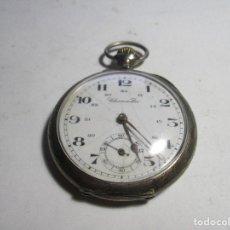 Relojes de bolsillo: RELOJ DE PLATA FUNCIONANDO TRES TAPA MUY GRANDE CONOMETRE TAPA TRASERA LABRADA . Lote 103417639