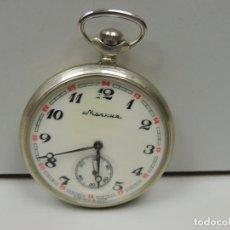 Relojes de bolsillo: ANTIGUO RELOJ DE CUERDA MARCA MOLNIA REVISADO FUNCIONA TAPA ORIGINAL LOBOS BUEN ESTADO RUSIA USSR. Lote 103453559