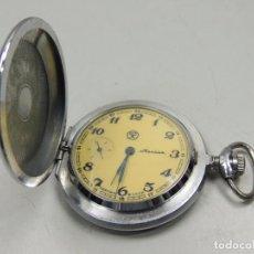Relojes de bolsillo: ANTIGUO RELOJ DE CUERDA MARCA MOLNIA REVISADO FUNCIONA TAPA ORIGINAL BUEN ESTADO RUSIA USSR. Lote 103453571