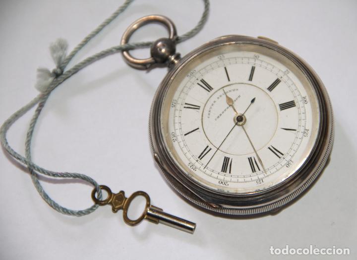 RELOJ CENTRE SECONDS CHRONOGRAPH. PLATA Y PORCELANA. FUNCIONA. SUIZA. PRINC. S. XX (Relojes - Bolsillo Carga Manual)