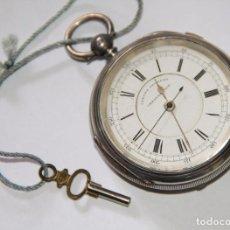 Relojes de bolsillo: RELOJ CENTRE SECONDS CHRONOGRAPH. PLATA Y PORCELANA. FUNCIONA. SUIZA. PRINC. S. XX. Lote 103576935