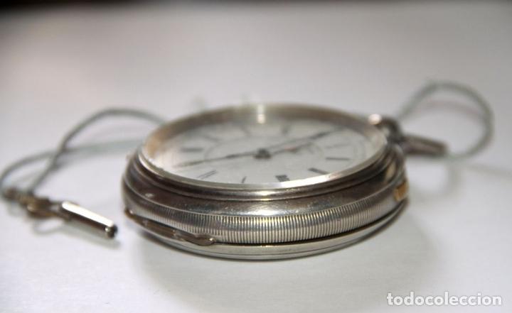 Relojes de bolsillo: RELOJ CENTRE SECONDS CHRONOGRAPH. PLATA Y PORCELANA. FUNCIONA. SUIZA. PRINC. S. XX - Foto 2 - 103576935