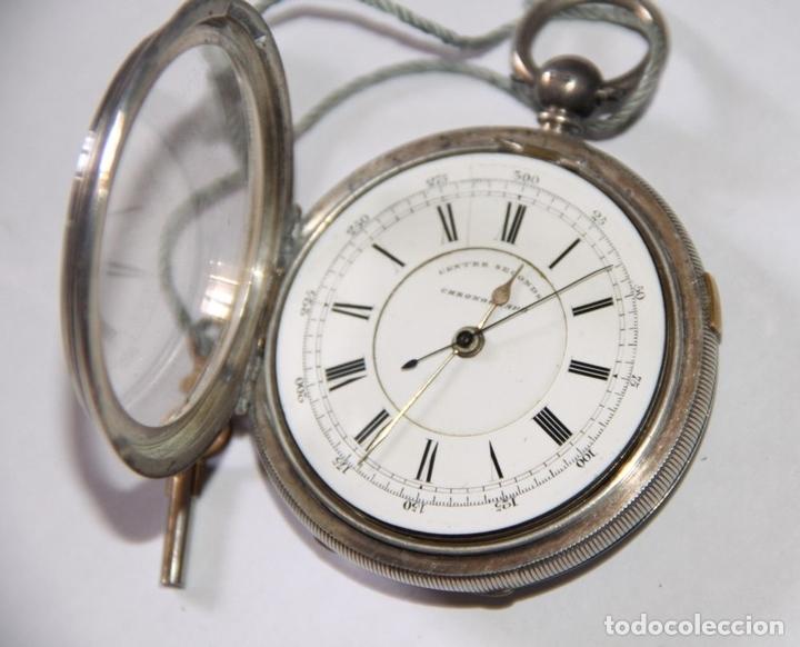 Relojes de bolsillo: RELOJ CENTRE SECONDS CHRONOGRAPH. PLATA Y PORCELANA. FUNCIONA. SUIZA. PRINC. S. XX - Foto 4 - 103576935