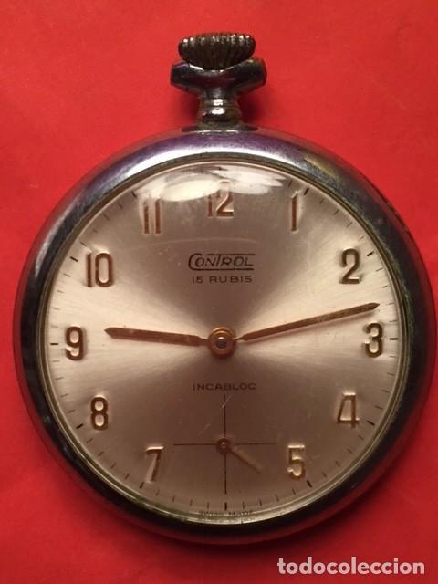 ANTIGUO RELOJ BOLSILLO CONTROL 15 RUBIS INCABLOC FUNCIONANDO (Relojes - Bolsillo Carga Manual)