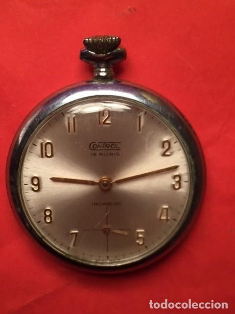 Relojes de bolsillo: Antiguo reloj bolsillo CONTROL 15 RUBIS INCABLOC funcionando - Foto 2 - 103704775
