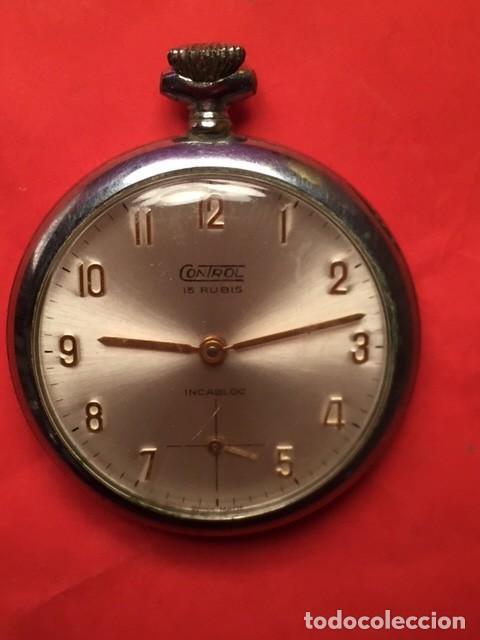 Relojes de bolsillo: Antiguo reloj bolsillo CONTROL 15 RUBIS INCABLOC funcionando - Foto 3 - 103704775