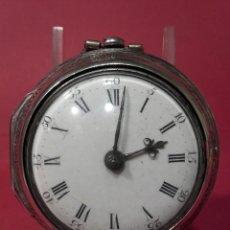 Relojes de bolsillo: MAGNIFICO RELOJ DE BOLSILLO CATALINO DE PLATA, FUNCIONANDO CON CHINCHONERA. Lote 104038650
