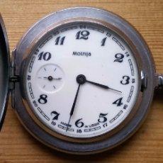 Relojes de bolsillo: ANTIGUO RELOJ DE BOLSILLO RUSO DE LA MARCA MOLNIJA CON TAPA EN RELIEVE AÑOS 60 18 RUBIES. Lote 104364659