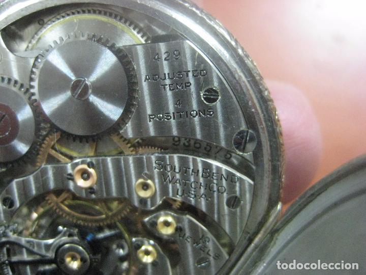 Relojes de bolsillo: RELOJ DE BOLSILLO SOUTH BEND (STUDEBAKER) CALIBRE 429 DE 19 JOYAS LEYENDA DE LOS MACCABEOS, FUNCIONA - Foto 5 - 104630607