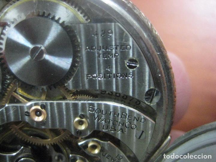 Relojes de bolsillo: RELOJ DE BOLSILLO SOUTH BEND (STUDEBAKER) CALIBRE 429 DE 19 JOYAS LEYENDA DE LOS MACCABEOS, FUNCIONA - Foto 8 - 104630607