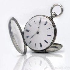 Relojes de bolsillo: JEUNET- RELOJ DE BOLSILLO DE CABALLERO DE PLATA CINCELADA Y ESFERA DE PORCELANA S.XIX. Lote 104813287