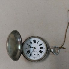 Relojes de bolsillo: RELOJ DE BOLSILLO DE CARGA MANUAL EN PLATA, CON LLAVE, FUNCIONANDO, SIGLO XIX. Lote 104977591